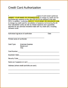 Credit Card Authorization Form Template Free Download for Credit Card On File Form Templates