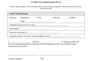 Credit Card Authorization Form Templates Download Best Of with regard to Customer Information Card Template