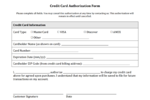Credit Card Authorization Form Templates [Download] for Acceptance Card Template