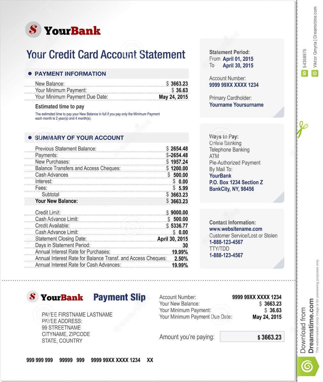 Credit Card Bank Account Statement Template Stock Vector Regarding Credit Card Bill Template