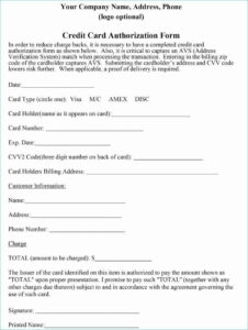 Credit Card Payment Form Authorization Template Typical intended for Credit Card Billing Authorization Form Template