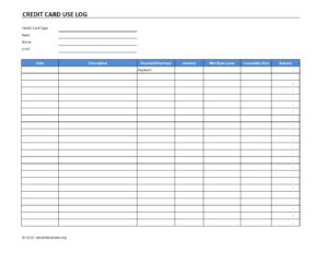 Credit Card Use Log Template | Excel Templates | Excel within Credit Card Payment Spreadsheet Template