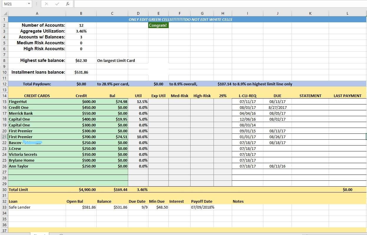 Credit Card Utilization Tracking Spreadsheet - Credit Warriors In Credit Card Payment Spreadsheet Template