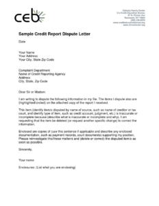 Credit Report Dispute Letter Template Hard Inquiries Free inside Credit Report Dispute Letter Template