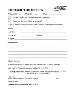 Customer Contact Form | Customer Feedback Form (Pdf Download within Employee Satisfaction Survey Template Word