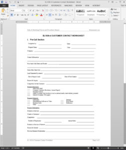 Customer Contact Worksheet Template | Sl1030-4 for Customer Contact Report Template