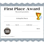 Customizable Printable Certificates | First Place Award with First Place Award Certificate Template