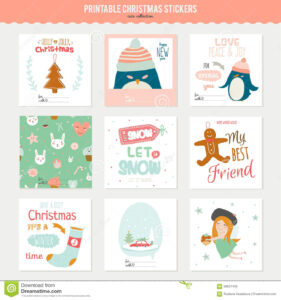 Cute Vector Christmas Cards And Stickers Stock Vector for Christmas Note Card Templates