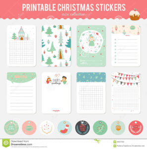 Cute Vector Christmas Cards And Stickers Stock Vector intended for Christmas Note Card Templates