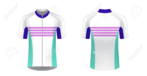 Cycling Jersey Vector Mockup. T-Shirt Sport Design Template in Blank Cycling Jersey Template