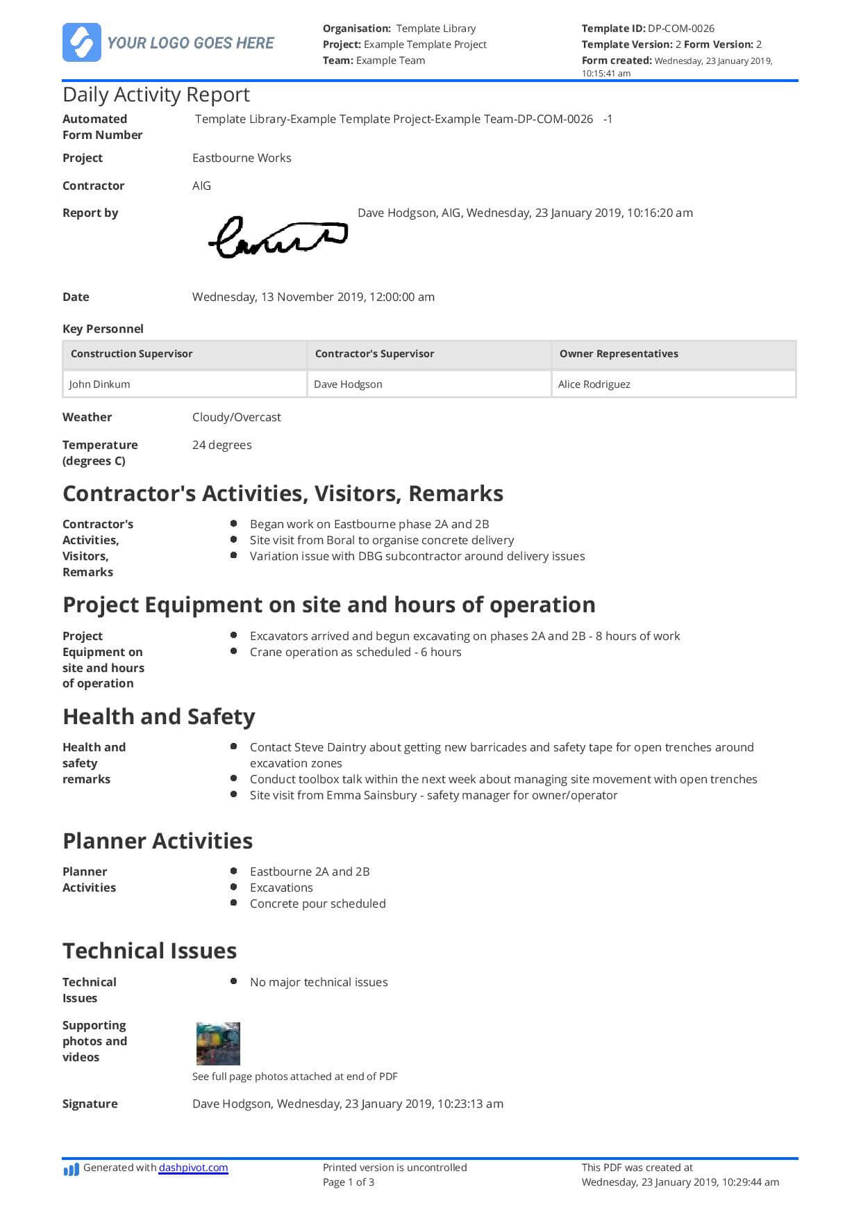 Daily Activity Report Template [Free And Better Than Excel With Activity Report Template Word