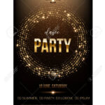 Dance Party Flyer Template. Golden Words, Spot Lights And Glitter.. Within Dance Flyer Template Word