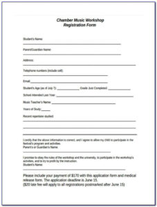 Dance Registration Form Templateion Entry Team Word Class regarding Camp Registration Form Template Word
