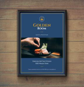 Dark Blue & Gold Fancy Restaurant Flyer Idea – Venngage within Fancy Brochure Templates