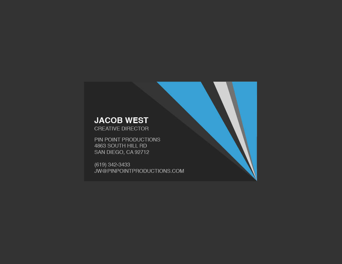 Dark Gray And Blue Generic Business Card Template With Regard To Generic Business Card Template