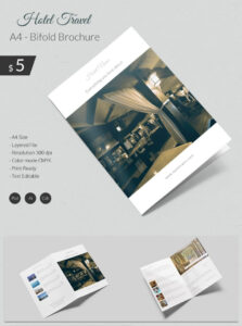Dazzling Hotel & Travel A4 Bi Fold Brochure Template | Free Throughout Hotel Brochure Design Templates