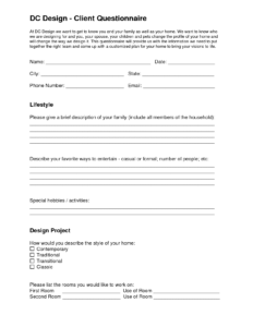Dc Design – Client Questionnaire | Eleven One Interiors pertaining to Questionnaire Design Template Word