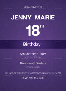 Debut Event Invitation Card Template intended for Event Invitation Card Template