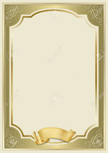 Decorative Rectangular Framework And A Scroll. Template For Diploma,.. with Certificate Scroll Template