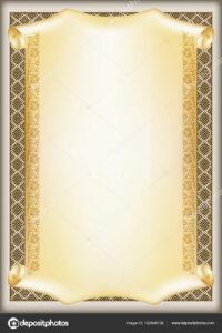 Decorative Rectangular Framework Ethnic Slavic Ornament within Certificate Scroll Template