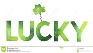 Decorative Word `lucky` With Cute Clover Symbol. Stock throughout Good Luck Banner Template
