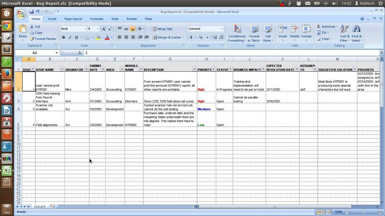 Defect Tracking Template Xls Intended For Defect Report Template Xls