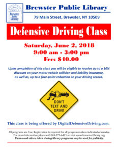 Defensive Driving Course At Brewster Library in Safe Driving Certificate Template