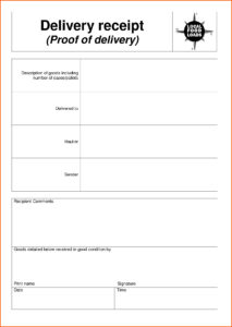 Delivery Document Receipt Template Sample As A Proof Of with regard to Proof Of Delivery Template Word