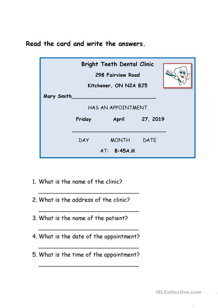 Dentist Appointment Card – English Esl Worksheets Regarding Dentist Appointment Card Template