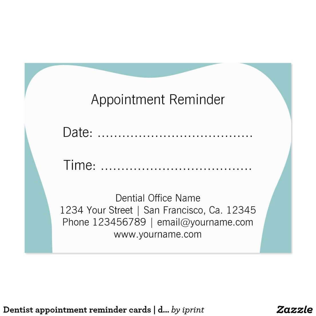 Dentist Appointment Reminder Cards | Dental Office | Zazzle Inside Appointment Card Template Word