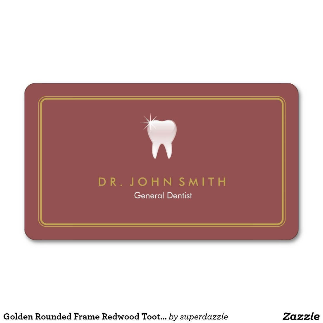 Dentist Golden Rounded Frame Redwood Tooth Dental With Regard To Dentist Appointment Card Template