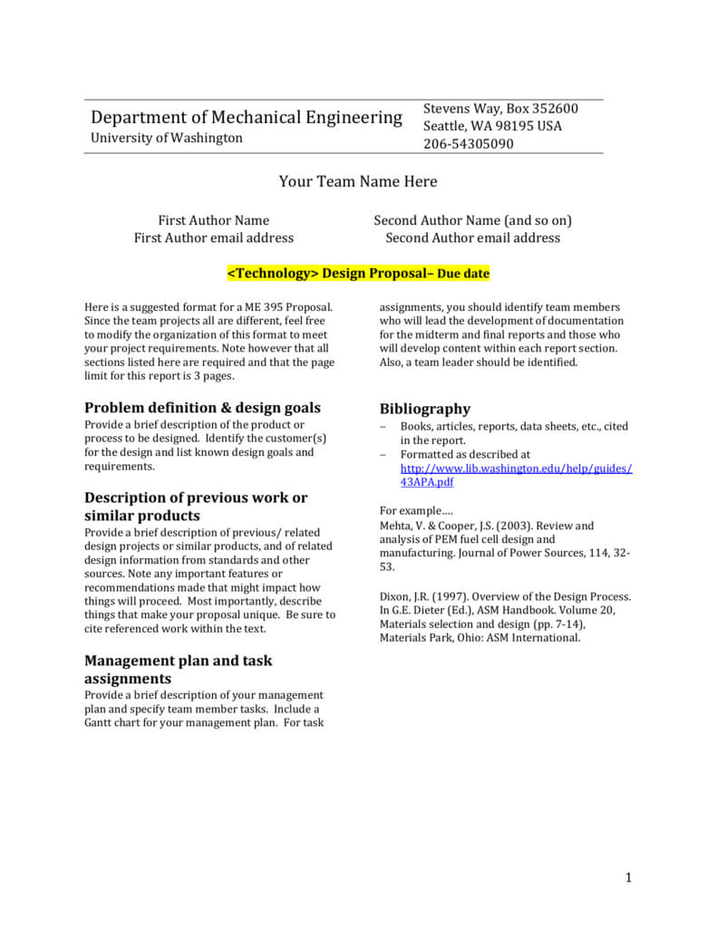 Design Report Template - University Of Washington For Section 7 Report Template