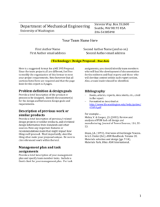 Design Report Template – University Of Washington with regard to Project Analysis Report Template