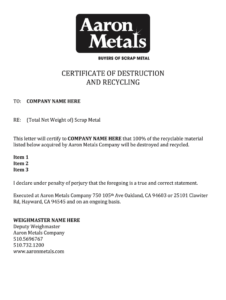 Destruction Scrap – Fill Online, Printable, Fillable, Blank with Certificate Of Destruction Template