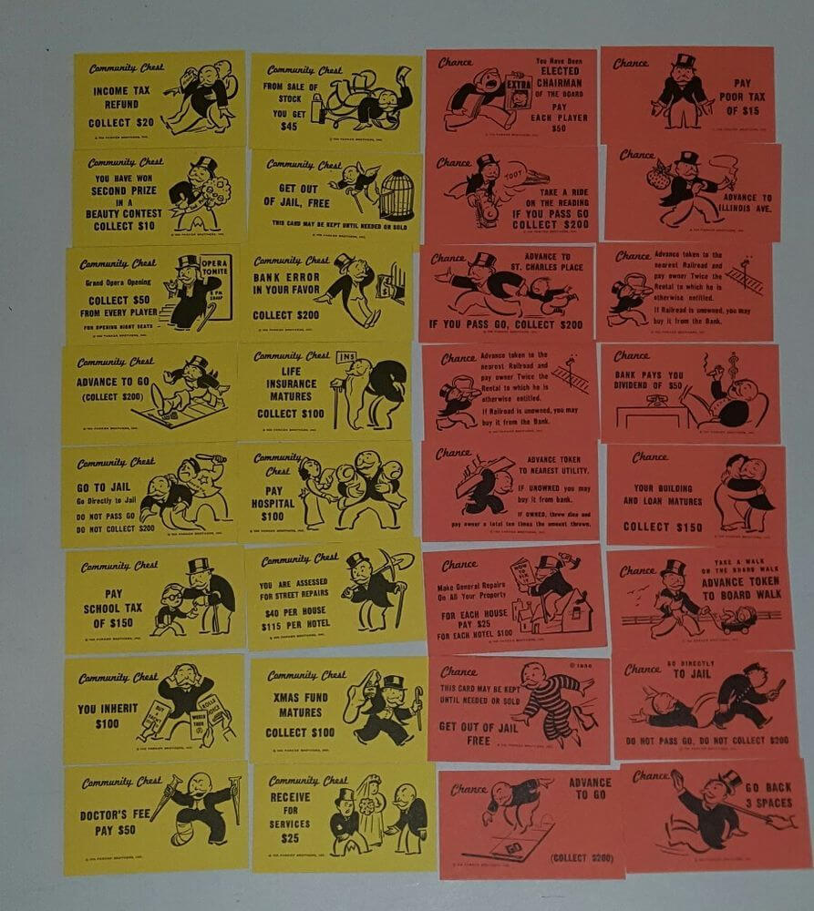 Details About Vintage Monopoly Chance And Community Chest Regarding Monopoly Chance Cards Template