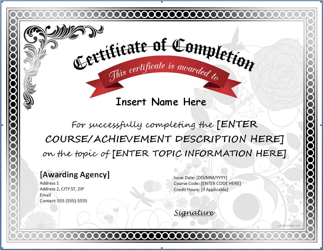 Different Kinds Of Certificate Of Completion Template #35 For Certificate Of Completion Template Free Printable