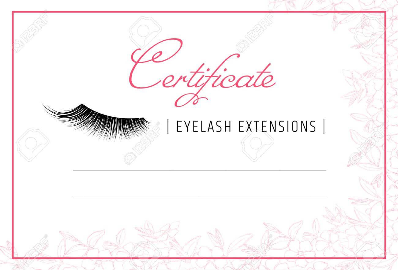 Diploma Eyelash Extensions. Makeup Certificate Template. Beauty.. With Regard To Beautiful Certificate Templates