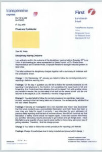 Disciplinary Hearing Outcome Letter – Transpennine Express inside Investigation Report Template Disciplinary Hearing