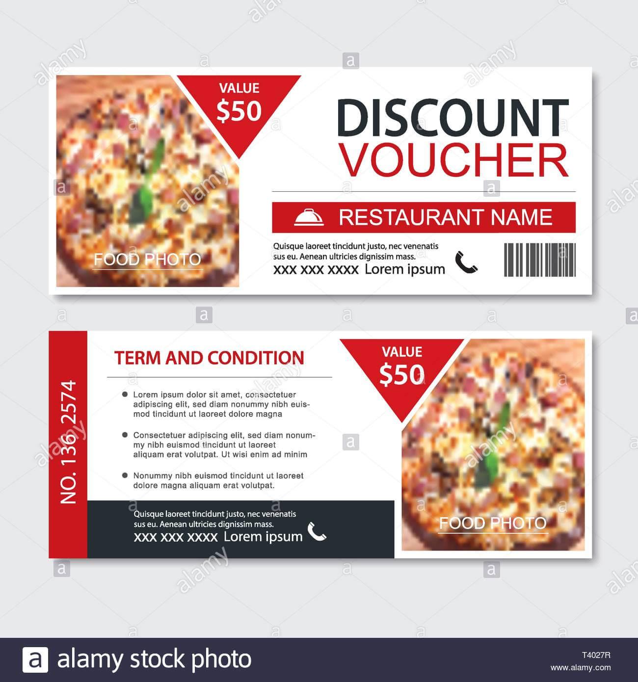 Discount Gift Voucher Fast Food Template Design. Pizza Set Regarding Pizza Gift Certificate Template