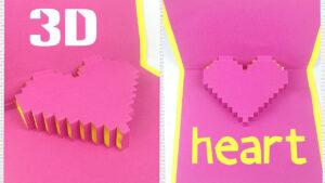 Diy 3D Heart Pop Up Card Tutorial Easy. Greeting Gift Card Love Design  Ideas For Boyfriend inside Pixel Heart Pop Up Card Template