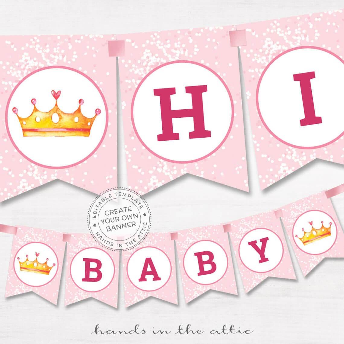 Diy Banner Pink Baby Shower Template, Editable Name Garland, Baby Girl  Shower Bunting, Printable Decoration, Digital Download Regarding Diy Baby Shower Banner Template