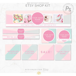 Diy Editable Etsy Shop Graphic Bundle Kit | Etsy Banner Inside Free Etsy Banner Template