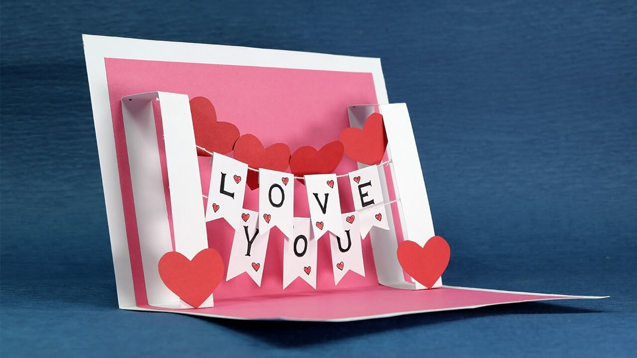Diy Valentine Card - Handmade I Love You Pop Up Card In I Love You Pop Up Card Template