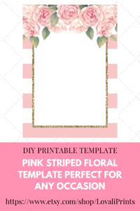 Do-It-Yourself (Diy) Pink Printable Striped/stripes Floral regarding Blank Bridal Shower Invitations Templates