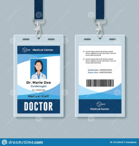 Doctor Id Badge. Medical Identity Card Design Template Stock in Doctor Id Card Template