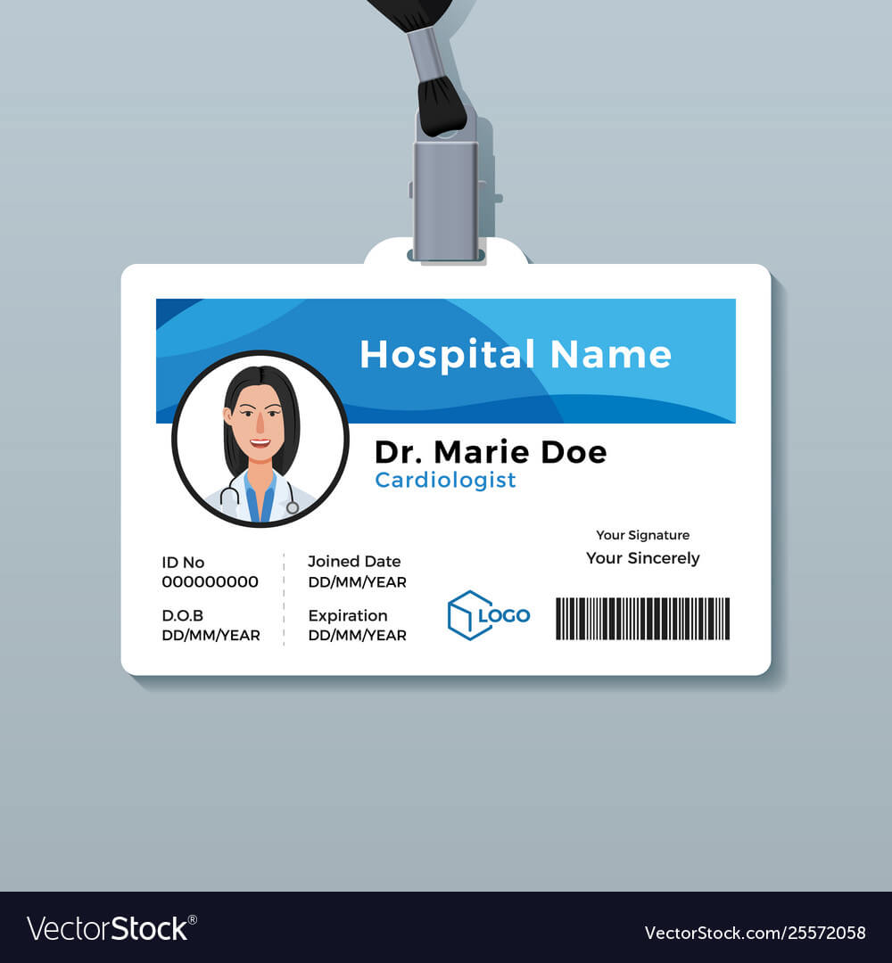 Doctor Id Card Medical Identity Badge Template Vector Image With Regard To Hospital Id Card Template