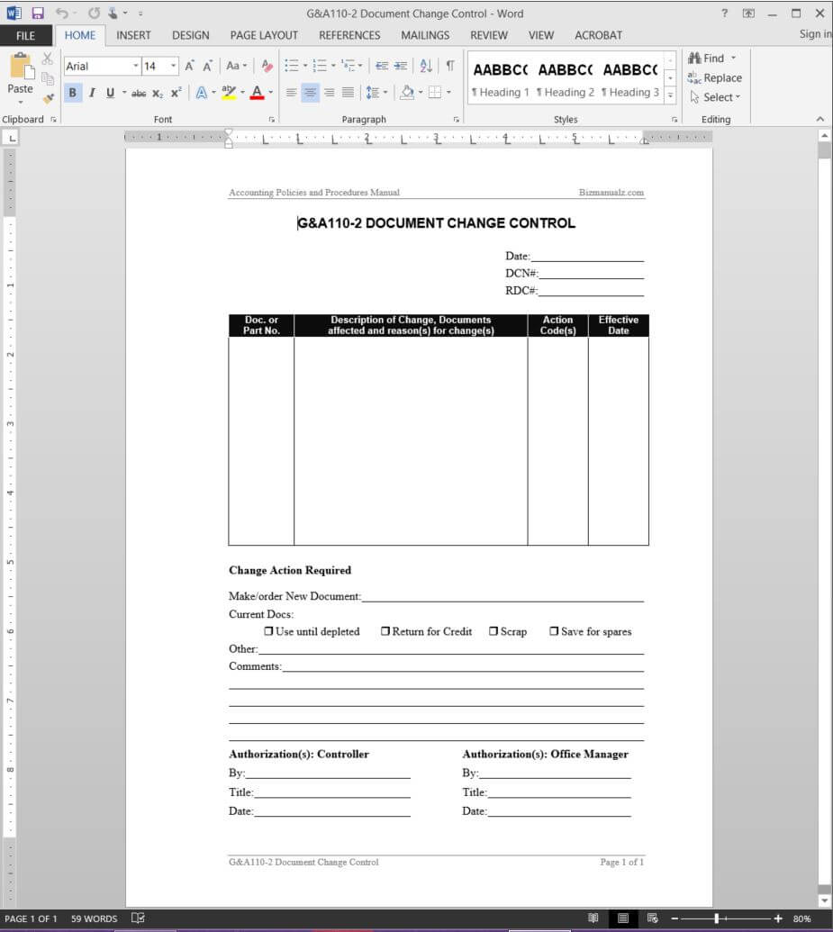 Document Change Control Report Template | G&a110 2 For Training Documentation Template Word