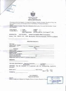 Document Translation – Cubacityhall regarding Birth Certificate Translation Template