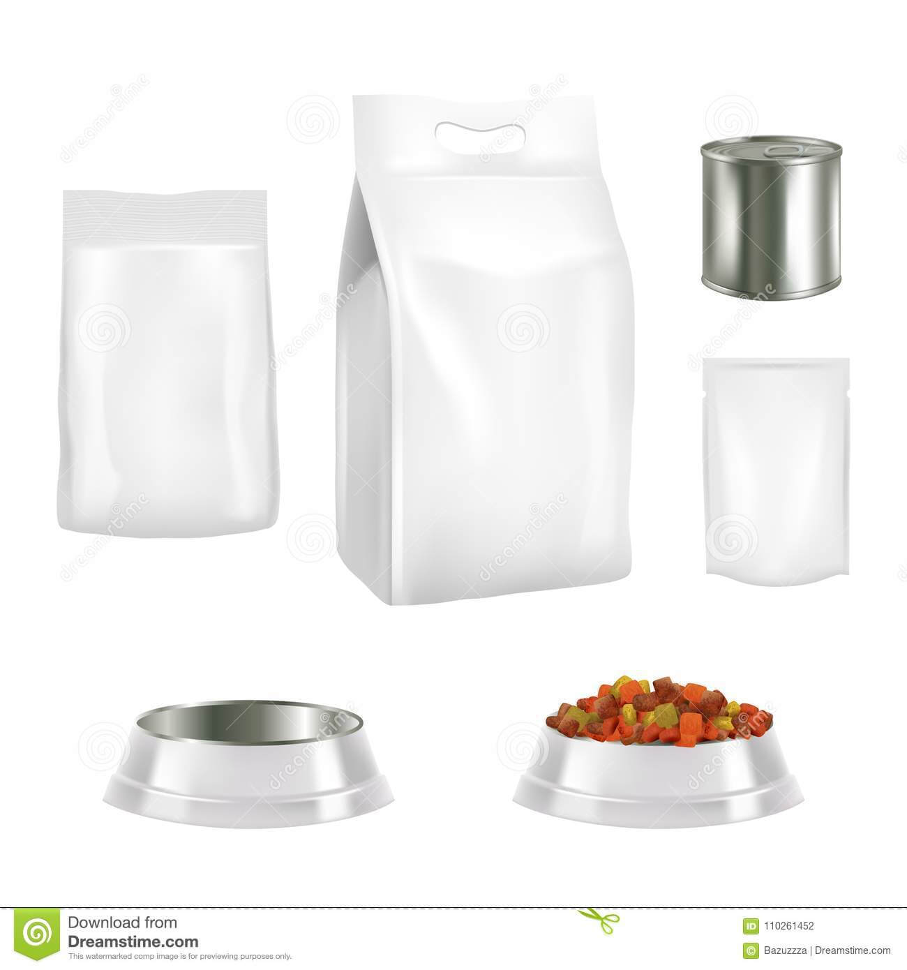 Dog Food Packaging Vector Realistic Mockups Stock Vector Inside Blank Packaging Templates