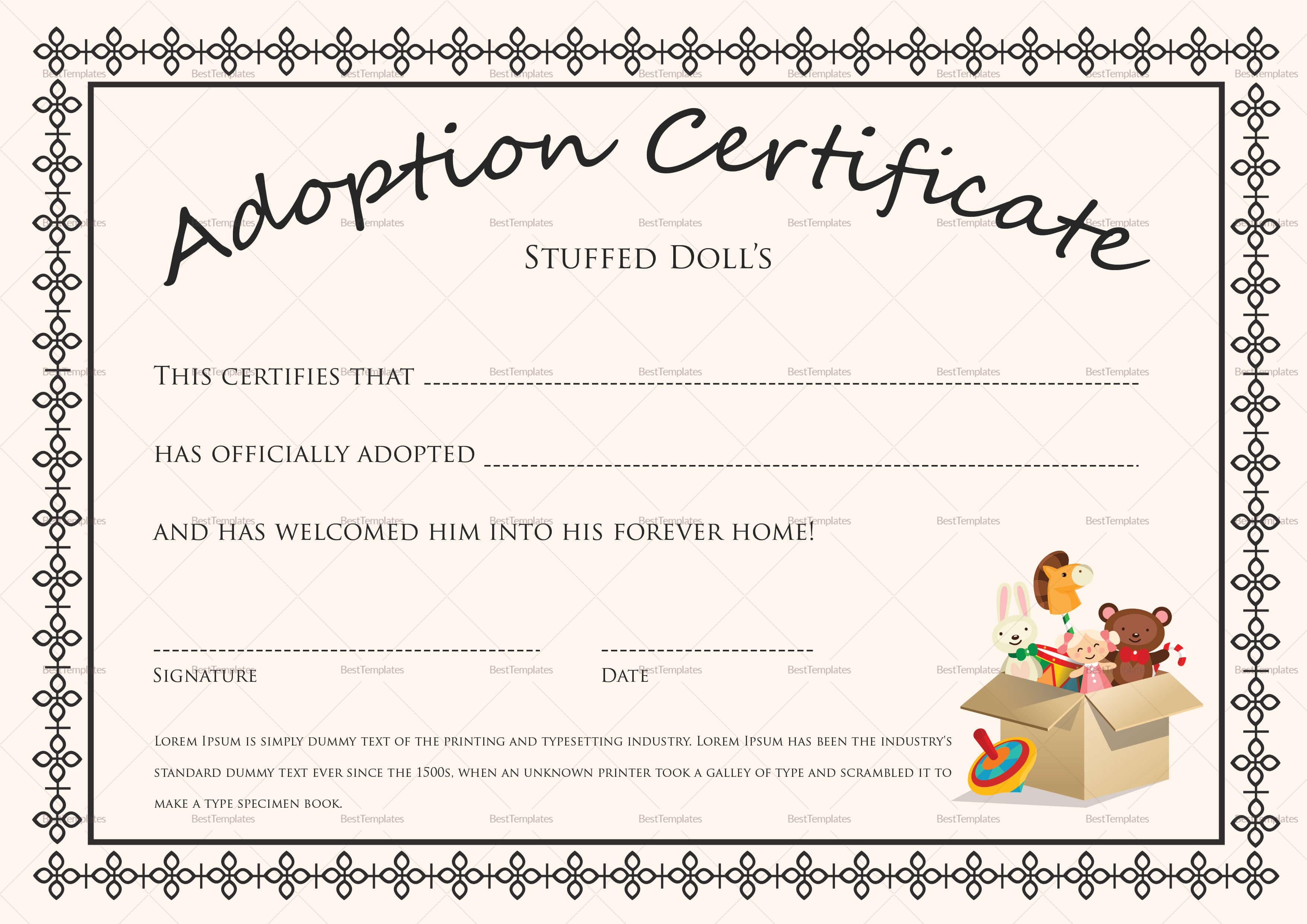 Doll Adoption Certificate Template Within Child Adoption Certificate Template